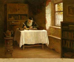 Old Man Writing, by Boris Dubrov