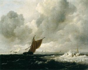 Stormy Sea with Sailing Boats, by Jacob Van Ruisdael