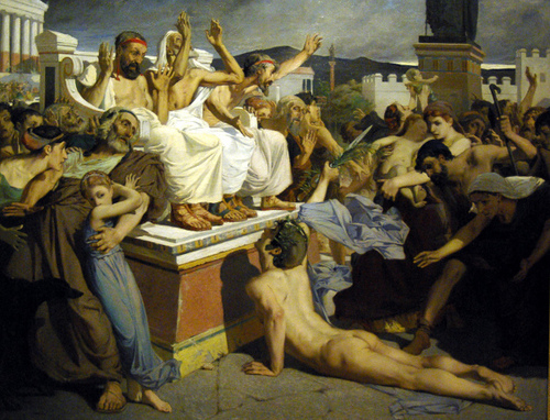 Pheidippides collapses after finishing the first marathon run. By Luc-Olivier Merson (1869)