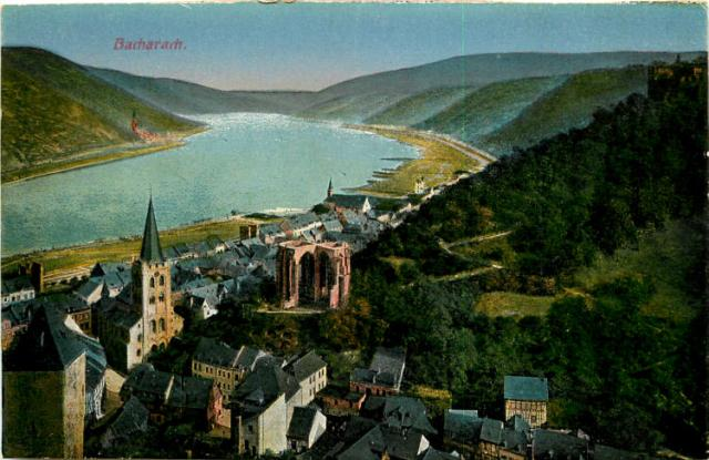 Antique postcard of Bacharach, Germany