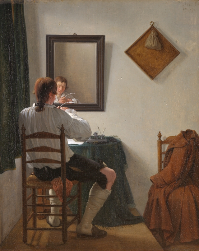 A writer trimming his pen, by Jan Ekels (II)